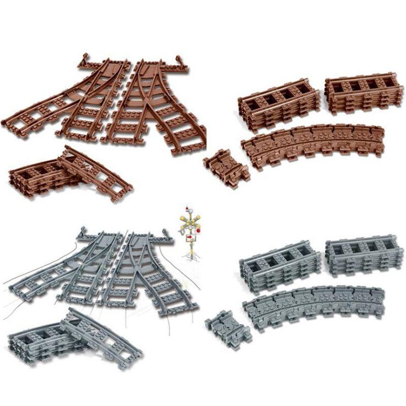 Legoing Ville Trains Technique Flexible Piste Rail Droit Courbe Rails Building Blocks Set pour Enfants Éducatifs Briques Enfants