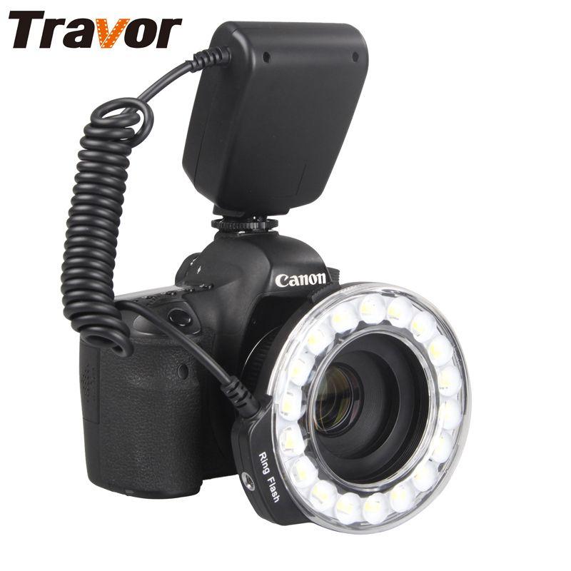 Travor 18 pcs Macro LED Flash Annulaire Lumière RF-600D Pour Canon Nikon Panasonic Pentax Olympus DSLR Caméra