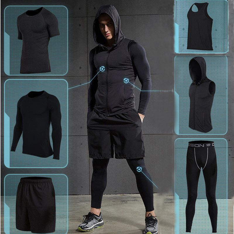 2017 Quick Dry Men's Running Sets 6pieces/sets Compression Sports Suits Basketball Tights Clothes Gym Fitness Jogging Sportswear