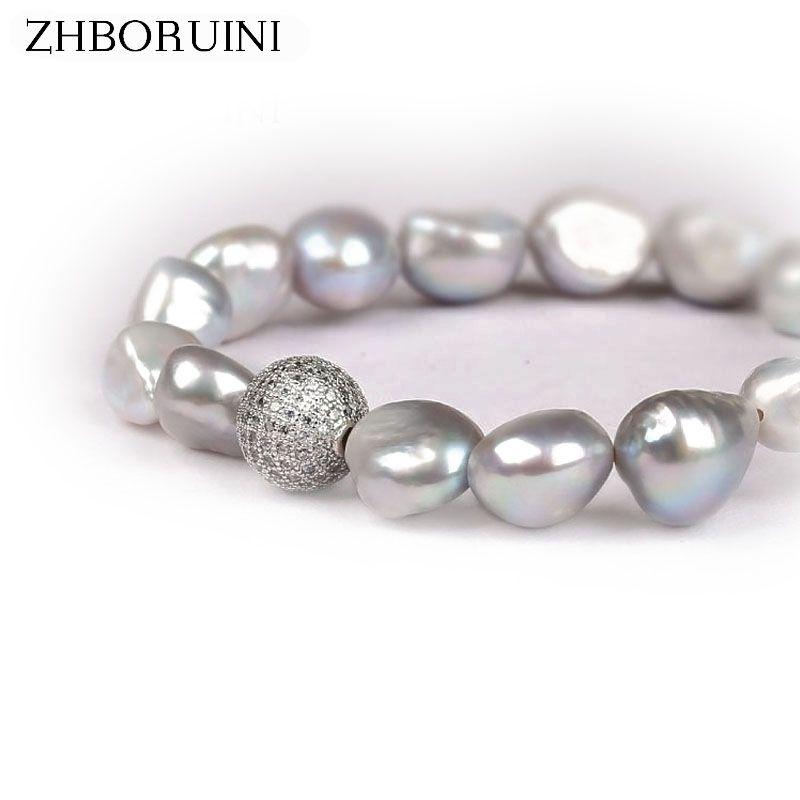 ZHBORUINI Perla Pulsera de la Bola de Cristal Barroco Charm Pulsera Natural Gris Perla de Agua Dulce Blanco Perla de La Joyería Para Mujer Regalo