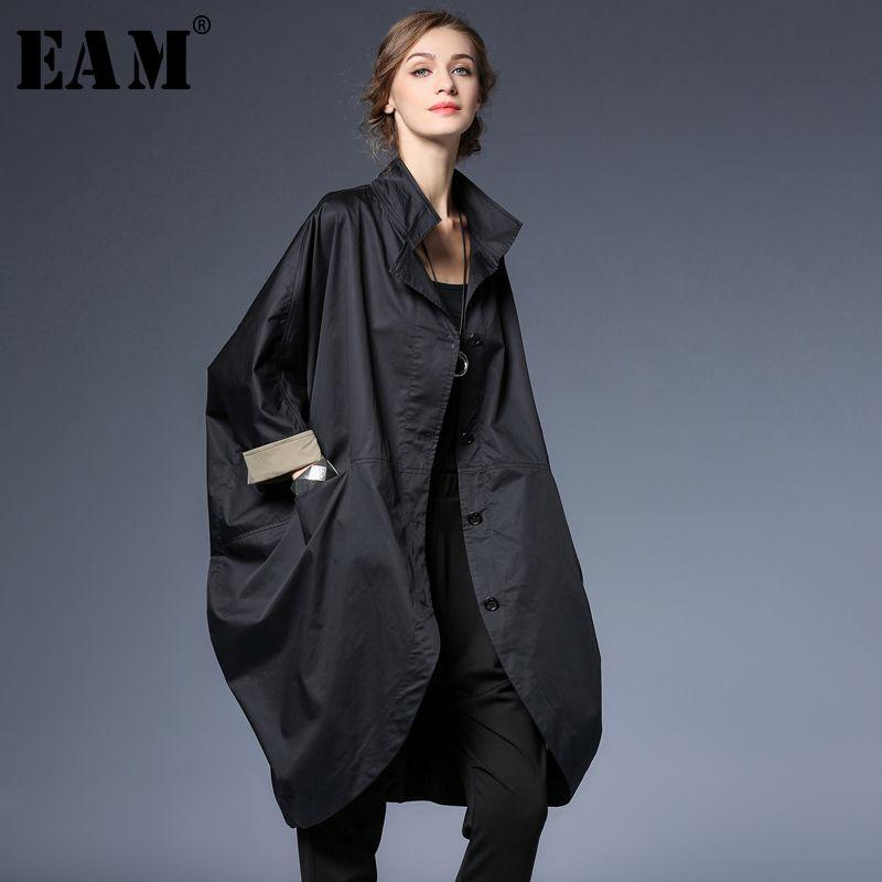 [EAM] 2018 Autumn New Pattern Fashion Loose Big Size Black Stand Lead Hit Color Cuff Casual Thin Windbreaker Women Coat YC39601