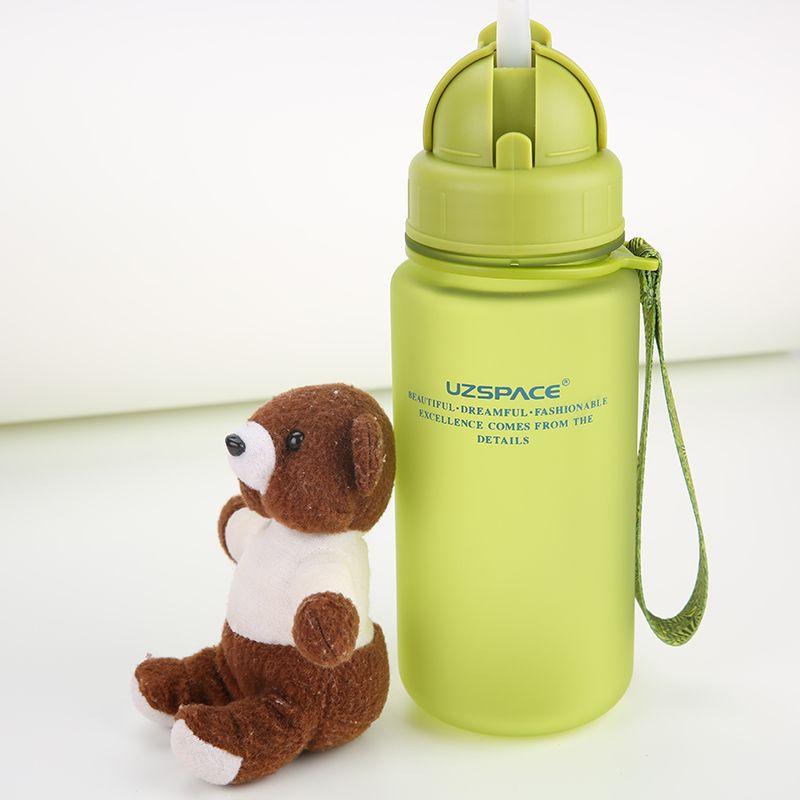 UZSPACE 400 ML Étudiant Enfants Bouilloire Portable Espace Résistant Sport étanche type de paille En Plastique bouteilles d'eau (SANS BPA)