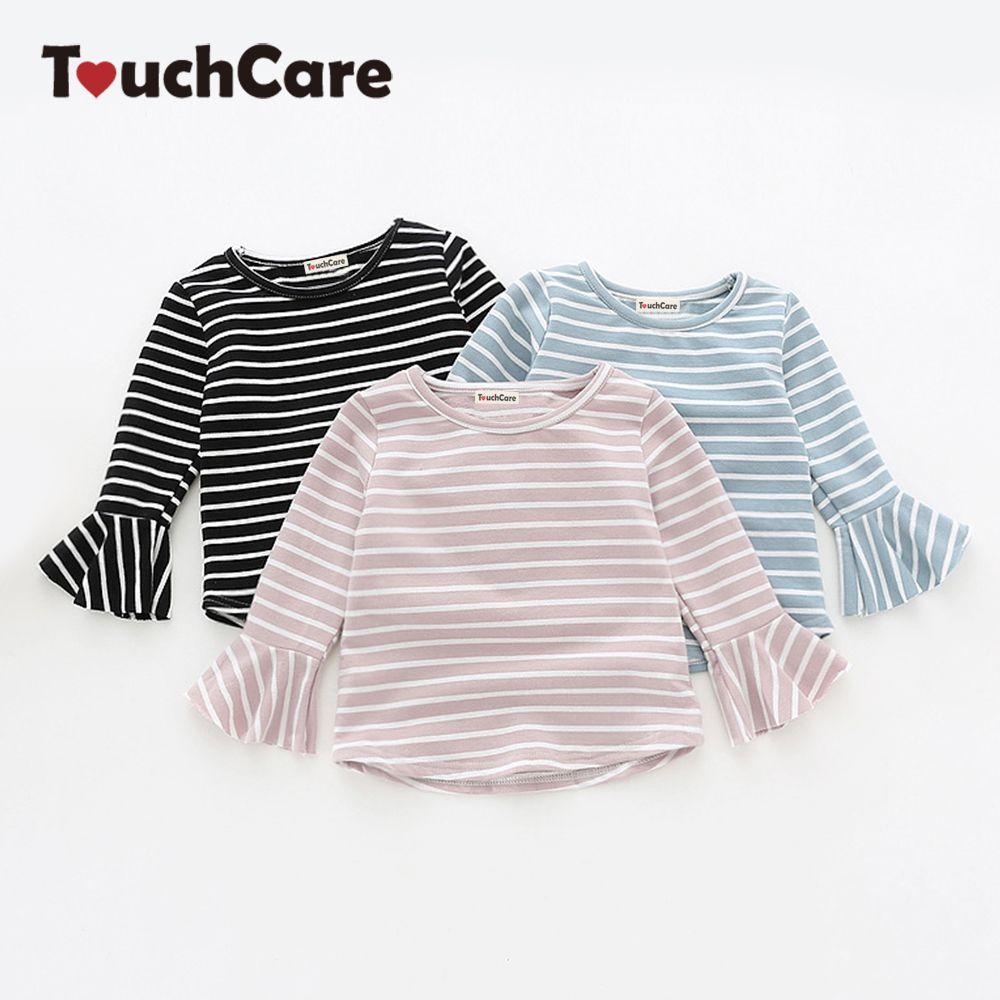 Touchcare новорожденных Stripes листьев лотоса рукавами для маленьких девочек Футболка Осенняя хлопковая для маленьких девочек Одежда для новорож...