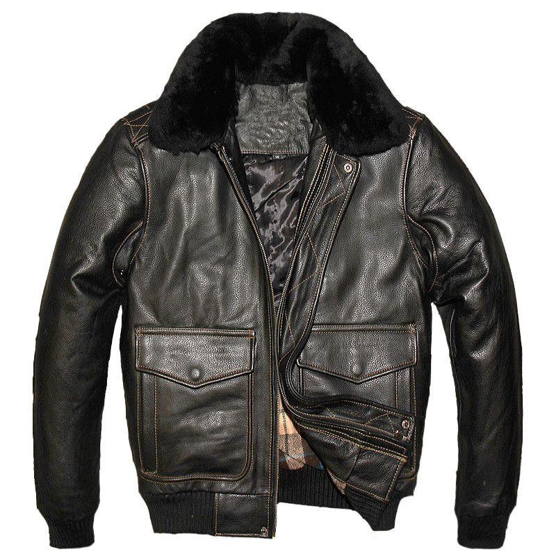 2018 ВВС США A2 кожаная куртка пилот коричневый шерстяной воротник плотной натуральной коровьей Slim Fit плюс Размеры XXL Для мужчин зимнее пальто ...