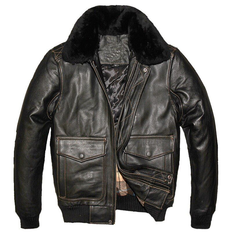 2018 Black Men USAF A2 Pilot Leather Jacket Wool Collar Genuine Thick Cowhide Russian Winter Aviator Leather Coat FREE SHIPPING
