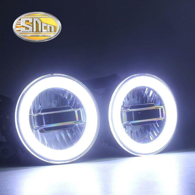 Sncn авто светодиодный Ангельские глазки днем Бег Свет автомобиля проектор туман лампа для Mitsubishi Triton L200 2013-2016,3 в -1 функции