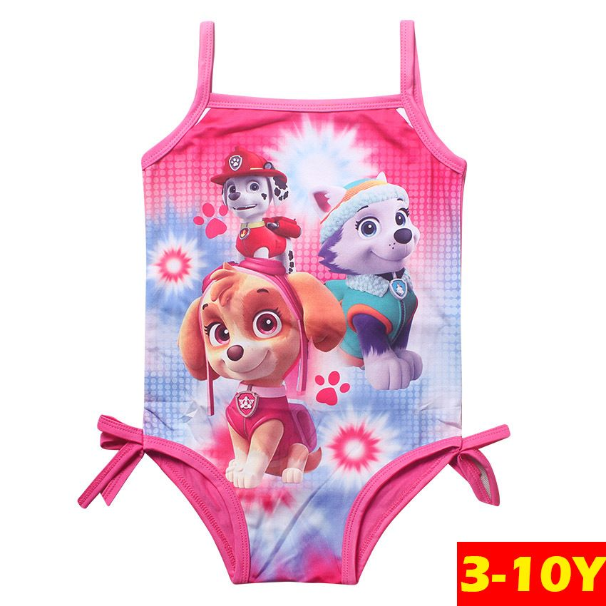 Girls Swimwear Lovely Beach Wear Printed Cartoon Swimming Suits One-Piece Rose Swimwear Girl Infantil Swimsuits G2-K427