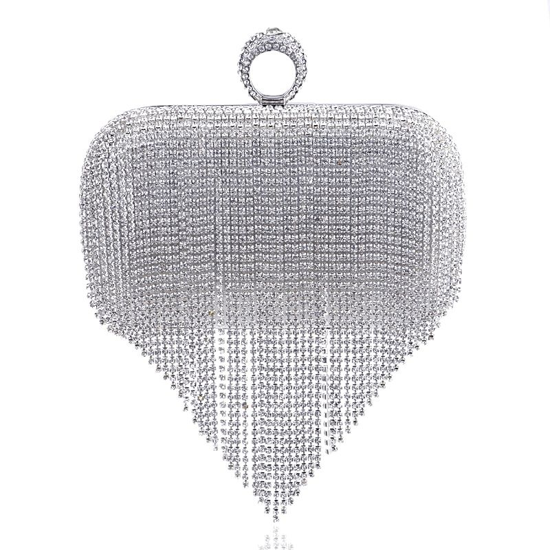 2017 Tassel Rhinestone Finger Ring Evening Bags Diamonds Wedding Handbags Women Day <font><b>Clutch</b></font> Mini Purse Bag With Chain Mixed Color