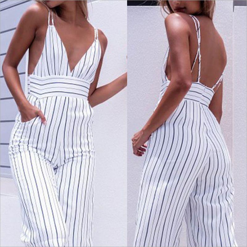 2019 nouveau combinaison femmes rayé Clubwear v-cou combishort sans manches pull moulante fête combinaison femme été dos nu barboteuse