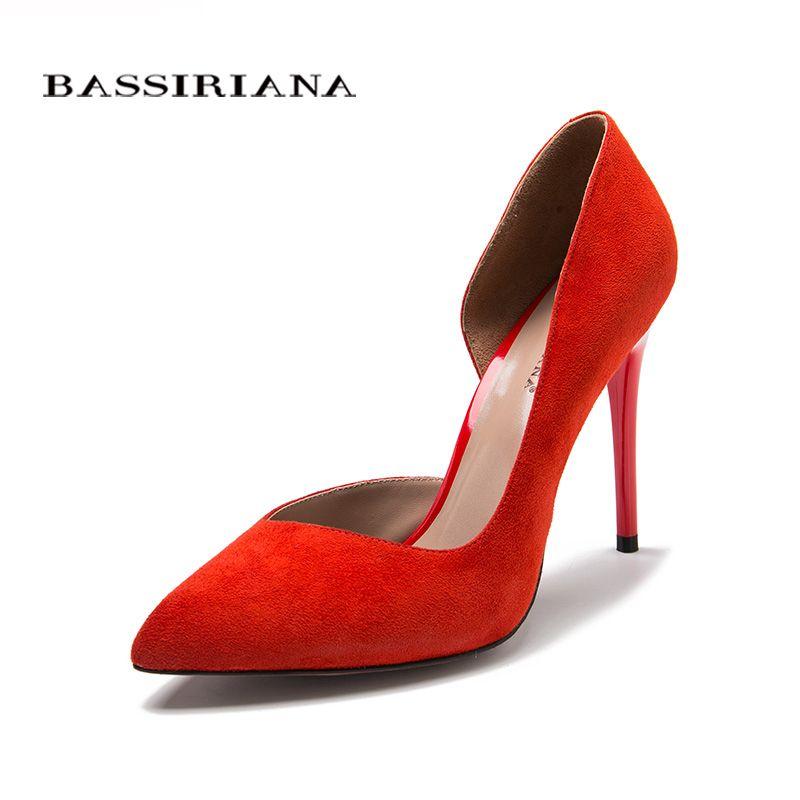 Escarpins à talons hauts en cuir suédé naturel nouveau printemps été 2017 rouge noir 35-40 mode chaussures de base femme livraison gratuite BASSIRIANA