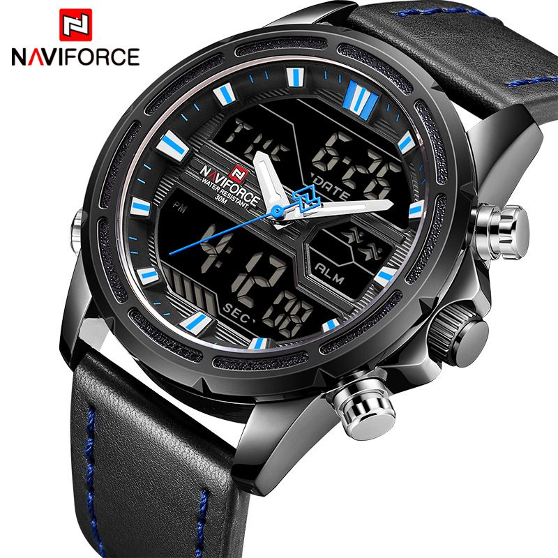 NAVIFORCE Top Brand Men Fashion Sport Watches Men's Leather LED Digital Quartz Wrist Watch Waterproof Military Male Clock Relogi
