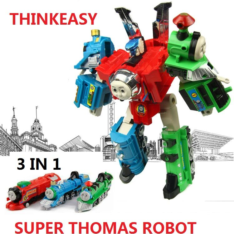 3 IN 1 Super transformation thomas <font><b>Robot</b></font> figure toys with package Children puzzle Figures for Birthday Gift Kids Toy set