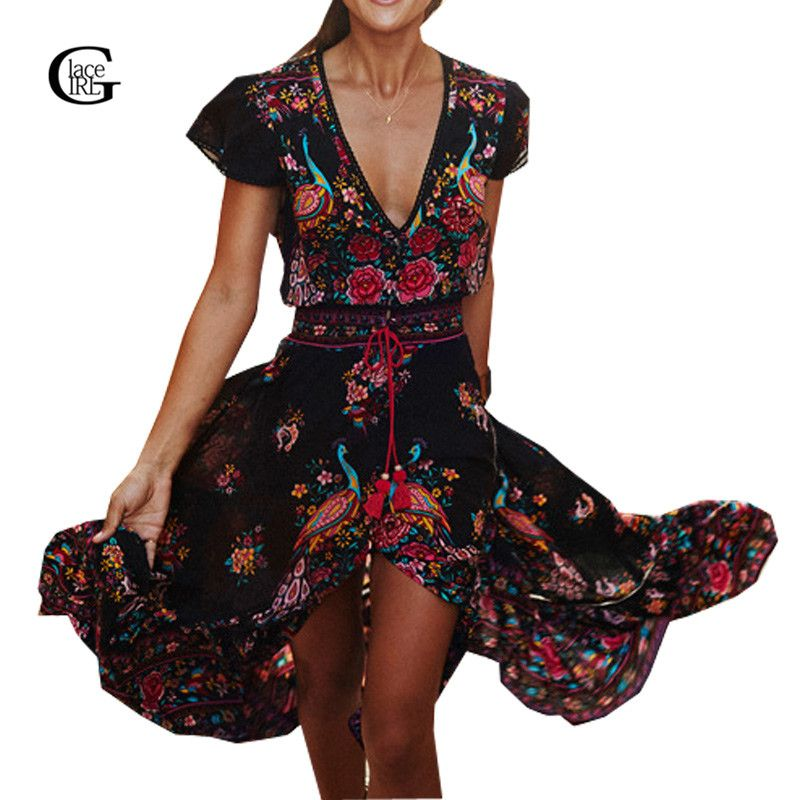 Lace Girl 2018 Summer Women Flower Long Dresses Casual Boho Beach Dresses V-neck Floral Retro Printed Bohemian Maxi Dress Ladies