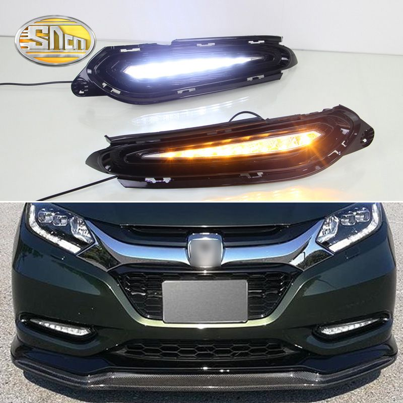 For Honda HRV HR-V 2015 2016 2017 2018,Turn Yellow Signal Relay Waterproof ABS Car DRL 12V LED Daytime Running Light SNCN