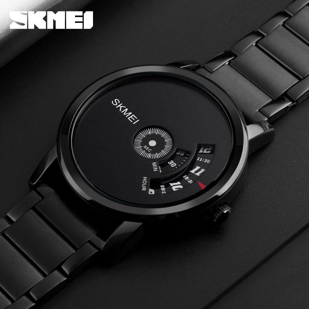 SKMEI Simple Style Fashion Men <font><b>Quartz</b></font> Watch Luxury Creative Steel Band Waterproof Casual Men's Watches Relogio Masculino
