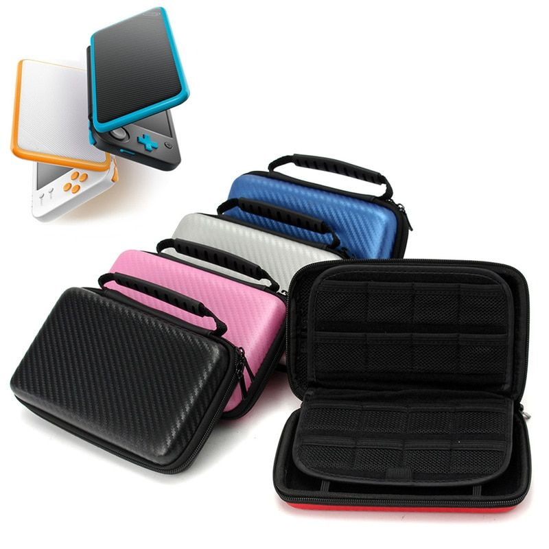 EVA Hard Cover Handle Bag For Nintendo New 2DS LL/XL Handle Game Player Carbon Fiber Carrying Case Protective Pouch Case