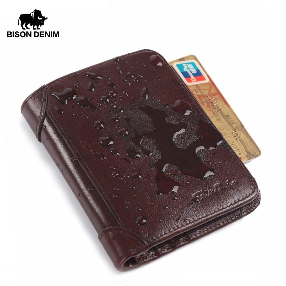 BISON DENIM Véritable En Cuir RFID portefeuille Hommes rouge brun cru bourse titulaire de la carte Marque hommes portefeuilles dollar prix Mâle Bourse W4361