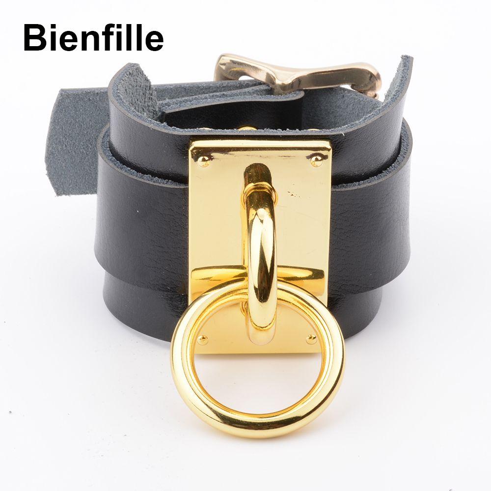 Bracelet de poignet à Double couche en cuir surdimensionné fait main Bondage BDSM argent or métal O bracelets gothiques ronds