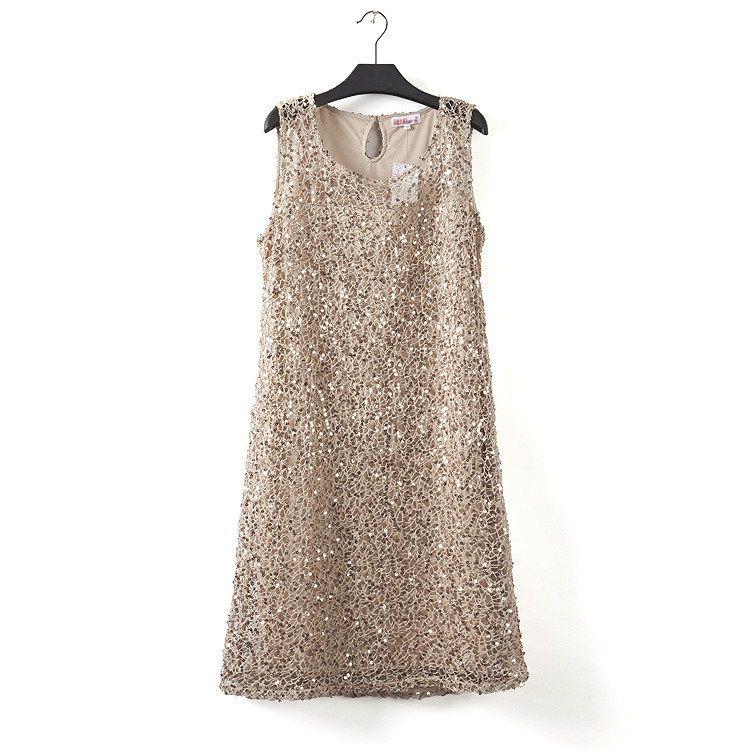 Grande taille extensible femmes sequin sans manches robe robes décontractées soirée élégante robes de fête