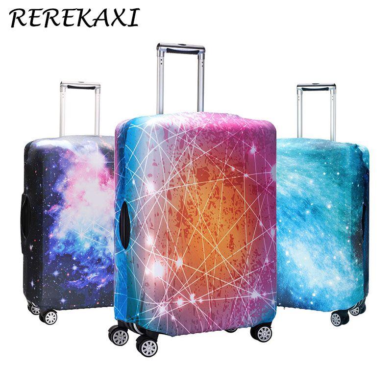 REREKAXI Cielo de la Estrella de Impresión 3D Del Equipaje Del Viaje Trolley Caso Cubierta Protectora para el Tronco Elástico Se Aplican a 18 ''-32'' Tapa maleta