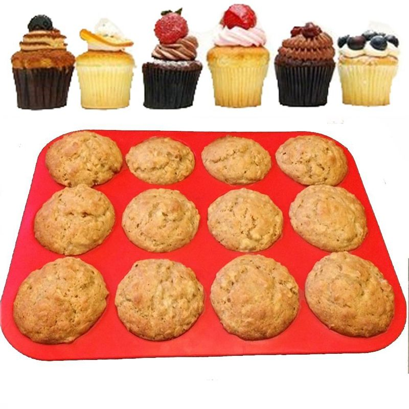 1 pièces rouge 12 cavité Silicone Muffin tasses Silicone cuisson casserole 12 tasses rond gâteau moule Silicone moule gâteau rond gâteau Pan cuisine