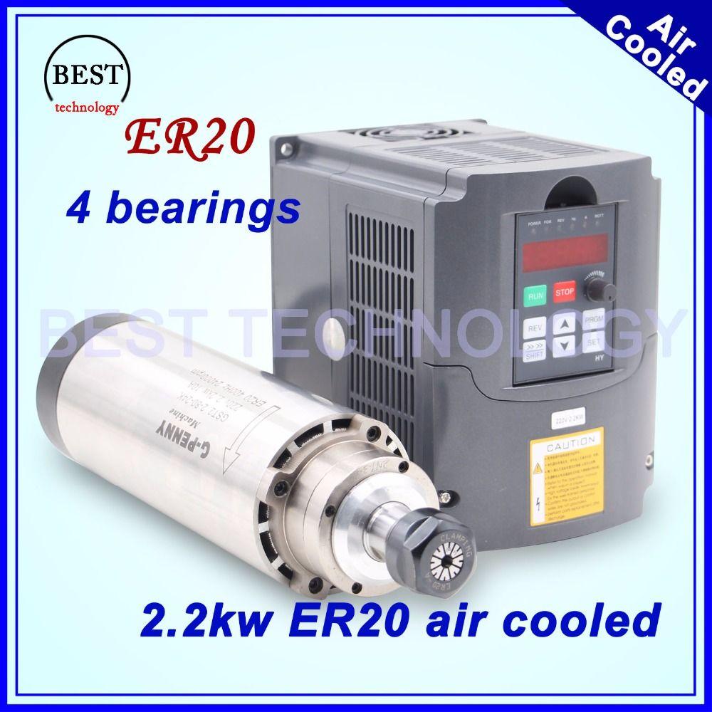 CNC spindel kit fräsen spindel 2.2kw ER20 luftgekühlte spindel 4 lager 24000 rpm für gravur maschine luftkühlung & 2.2kw VFD