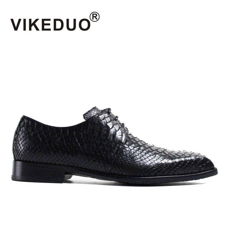 Vikeduo 2018 hecho a mano de piel de serpiente diseñador de Moda Vestido de Baile Del Banquete de Boda de Lujo de la marca masculina de Cuero Genuino Para Hombre Zapatos Derby