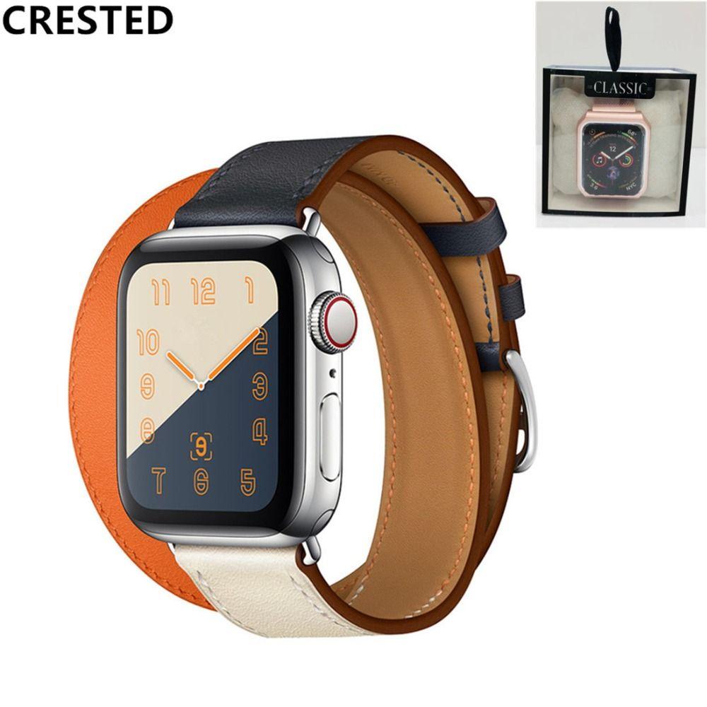 Bracelet en cuir à double tour à crête pour montre apple 4 bandes 40mm 44mm correa iwatch série 3 2 1 42mm 38mm bracelet de montre