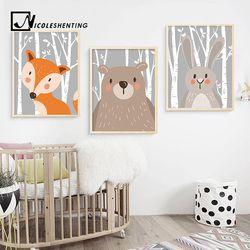 Lapin Renard Ours Animal Pépinière Affiches et Gravures Mur Art Toile À la main Image Décorative Nordique Style Enfants Décoration