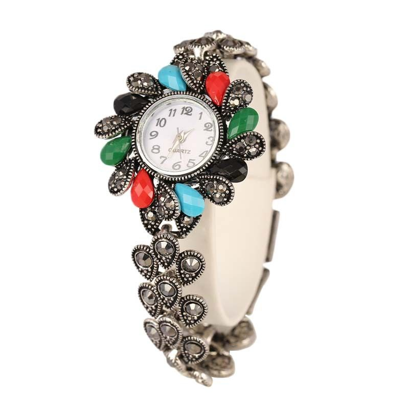 2015 New Watch Bracelet Popular Bohemia Sunflower Bracelets Antique Silver Color Bracelet For Women