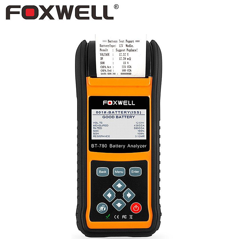 FOXWELL BT780 Automotive Battery Tester 12V-24V Car AGM GEL EBP Batteries Analyzer Built-in Printer Starting Charging System