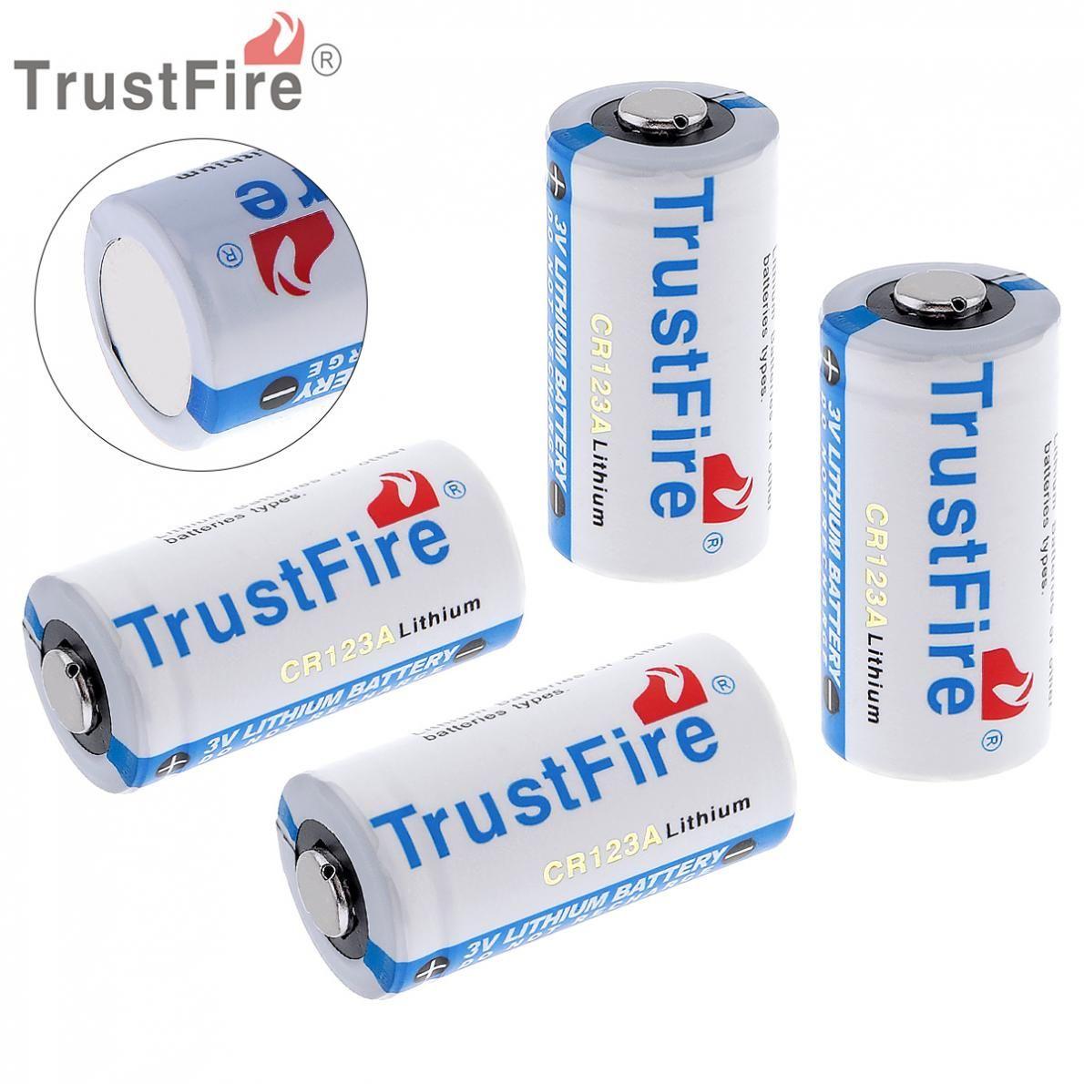 Trustfire 4 pièces haute qualité CR123A 16340 Lithium Li-ion batterie Trustfire 3V 1400mAh 16340 batteries