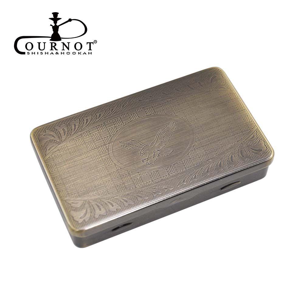 Etui à cigarettes en métal COURNOT taille de poche 95*57mm avec porte-papier de 70MM à l'intérieur