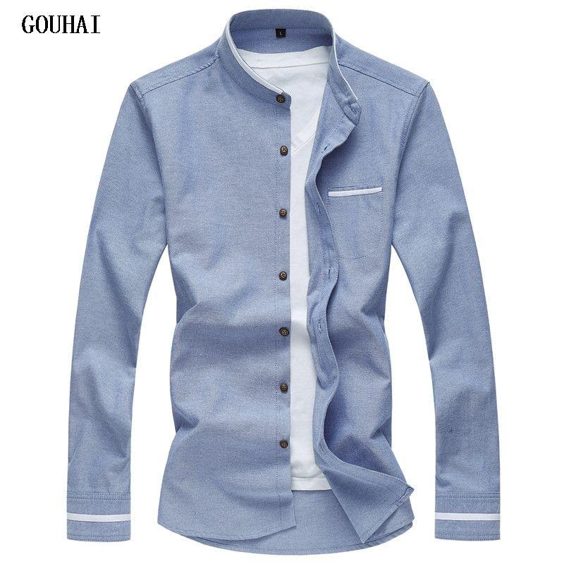 2018 New Long Sleeve Men Shirts Social Stand Collar M-7XL <font><b>Plus</b></font> Size Mens Dress Shirts Soli Shirts Men Casual Clothing Men