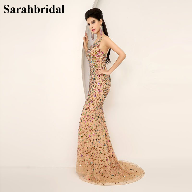 In Stock Elegant Mermaid Evening Dresses With Crystals 2017 Luxury Sexy Beads Evening Gowns Prom Dresses Real Picture AJ016