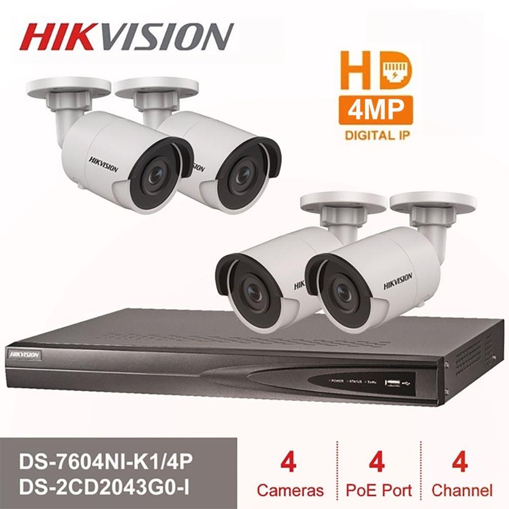 Hik 4CH HD POE NVR Kit DS-7604NI-K1/4 P 4 stücke 4MP DS-2CD2043G0-I IP Kamera IR Nacht Vision Überwachung set verschiffen Schnelles Verschiffen