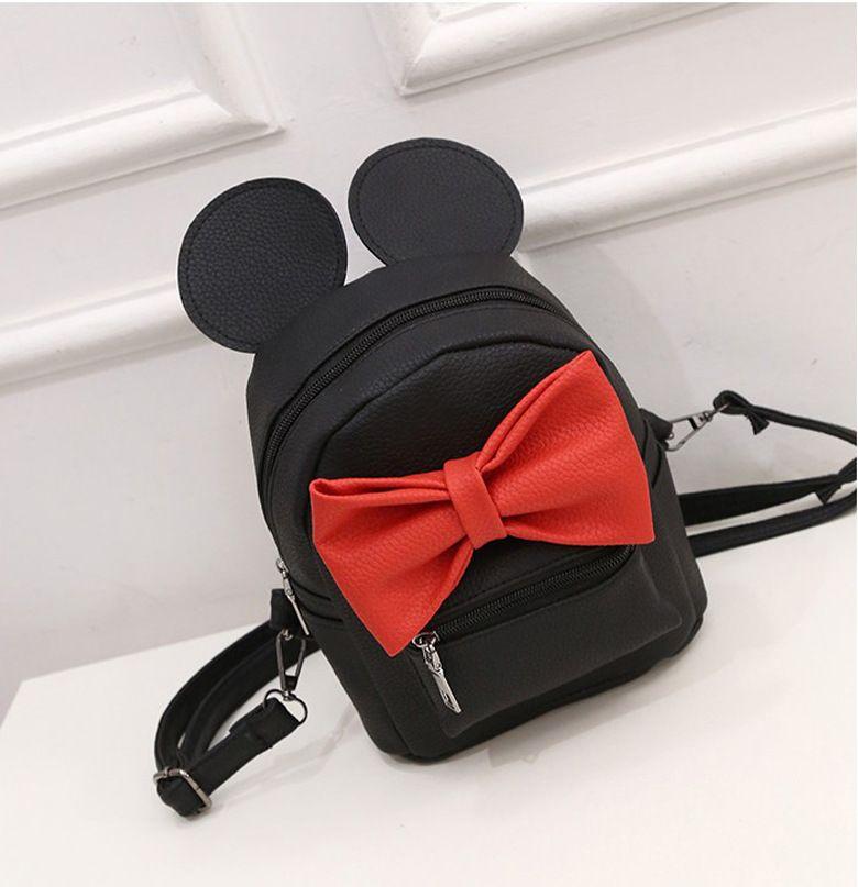 2016 Новинка уши Микки Sweet Girl лук Колледж ветер мини женская сумка-рюкзак качество искусственная кожа женские рюкзаки корейской версии