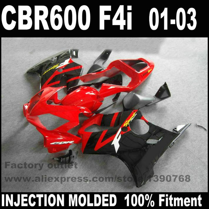 Customize Injection Molded for HONDA CBR 600 F4i fairings 01 02 03 black red CBR600 2001 2002 2003 fairing body kit RE24