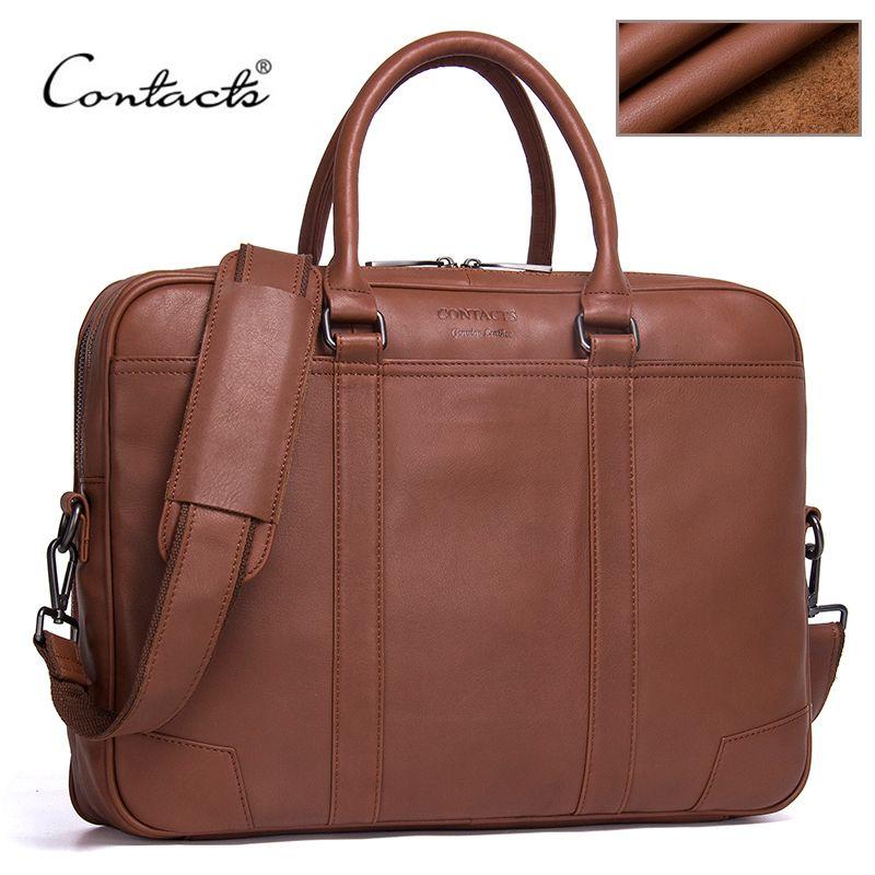 Контакта бренд Мужские Портфели Пояса из натуральной кожи Для мужчин Курьерские сумки новый мужской моды плеча портфеля ноутбук сумка