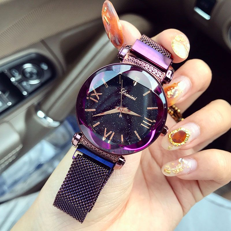 Watches Women Luxury Brand Lady Crystal Wrist Watches Starry sky Fashion Woman Quartz Ladies Magnet Strap Free Buckle Watches