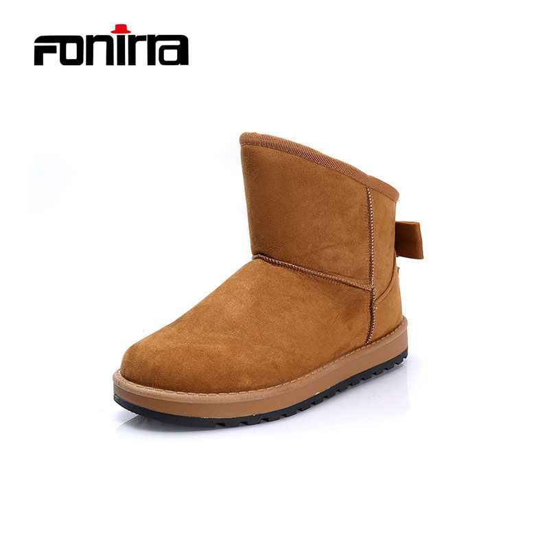 FONIRRA New Design Winter Warming Round Toe Snow Boots Solid Slip-on Bow Flat With Comfortable Women Outdoor Walking Shoes 251