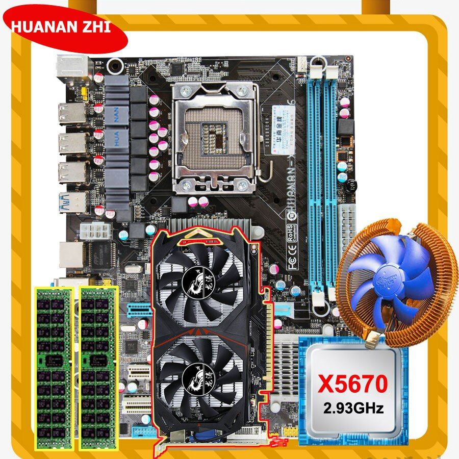 HUANAN ZHI discount X58 LGA1366 motherboard with CPU Intel Xeon X5670 2.93GHz with cooler RAM 8G REG ECC GTX750Ti 2G video card