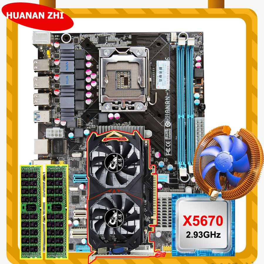 Amazing HUANAN ZHI X58 LGA1366 motherboard with CPU Intel Xeon X5670 2.93GHz with cooler RAM 8G DDR3 RECC GTX750Ti 2G video card