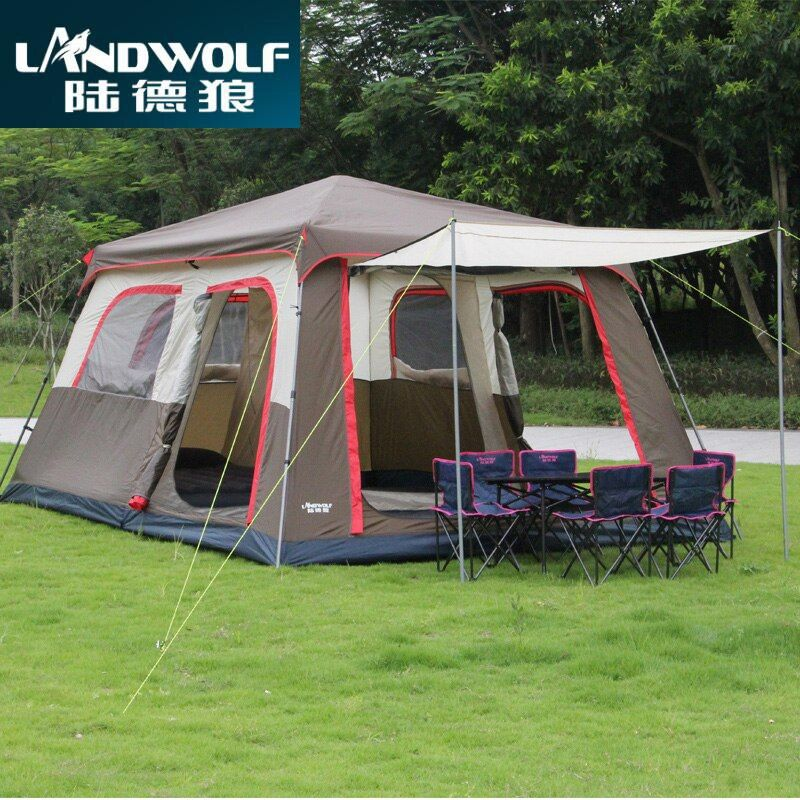 Landwolf Braun farbe Ultra 6 10 12 doppel schicht im 2 wohnzimmer und 1 halle familie camping zelt enthalten 1 set vorne pol