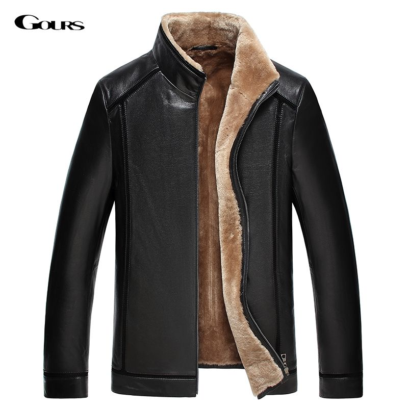 Gours Winter Men's Genuine Leather Jackets Brand Clothing Black Sheepskin Jacket and Coats with Wool Collar 2018 New Arrival 4XL