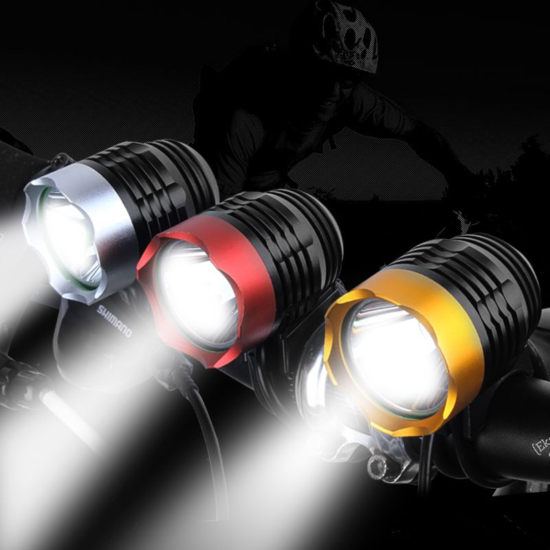 DEROACE Mountain Bicycle Lights T6 Headlights Waterproof Light Night Riding Bike L2 Equipment Accessories USB Light Tor