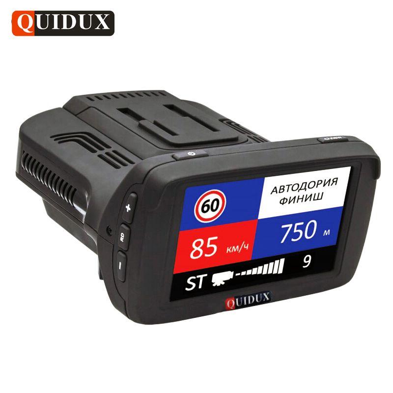 QUIDUX Russian Full HD 1296P Car DVR GPS Anti Radar Detector ADAS Alarm Dash Cam 3 in 1 Car Speedcam Camera Overspeed Reminding
