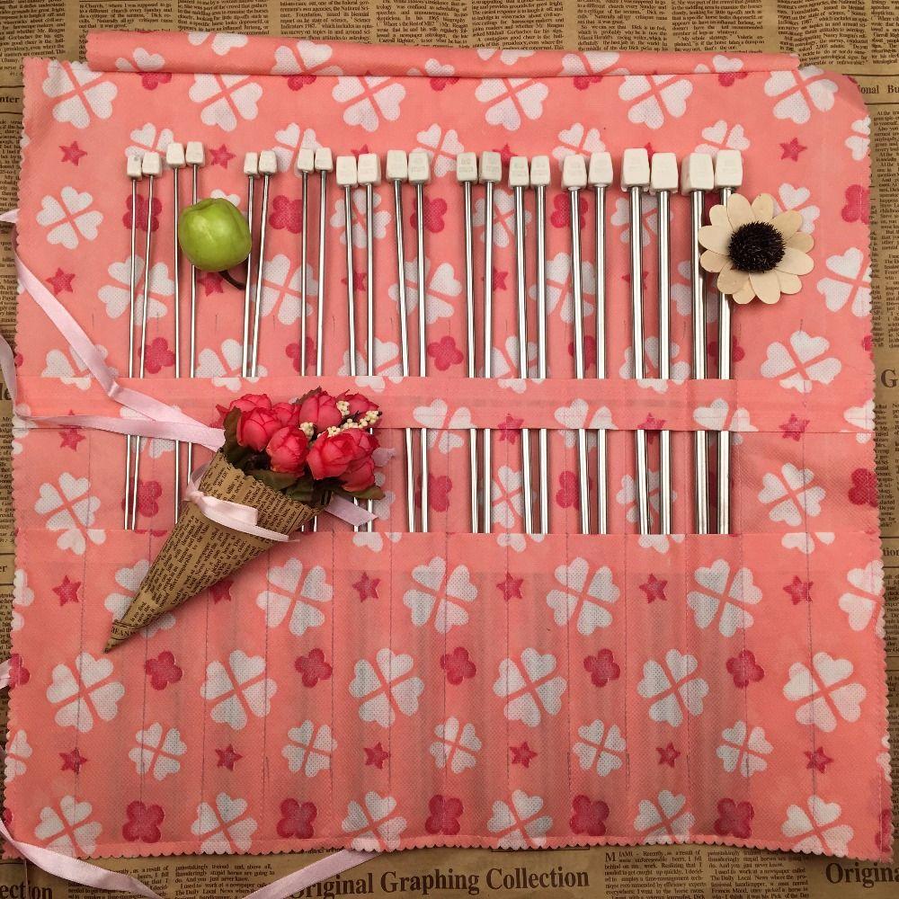 22 pièces/ensemble 35 cm en acier inoxydable unique pointu aiguilles à tricoter Crochet Crochet outil artisanat aiguilles à tricoter ensemble 2.0mm-8.0mm