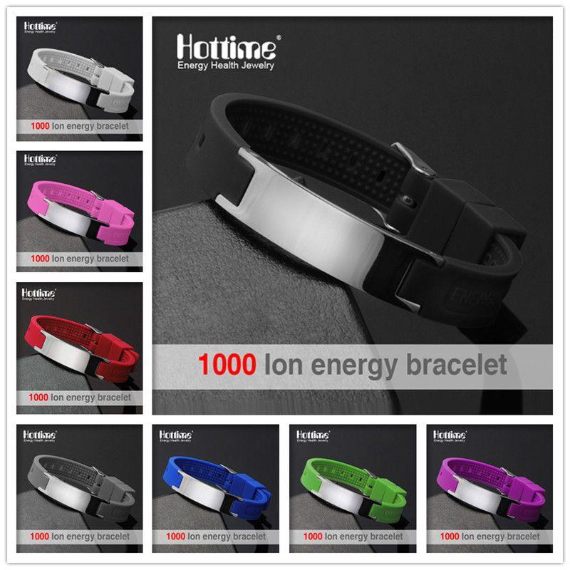 Hottime Nouvelle Rue De La Mode Sport de Basket-Ball Bracelet En Silicone Hommes Bio Énergie Magnétique Titane D'IONS Négatifs En Acier Bracelets