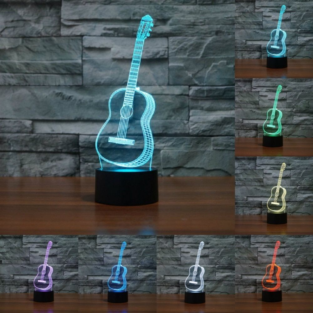 Creative 3D Visual Ukulele <font><b>guitar</b></font> Model Illusion Lamp LED 7 Color changing Novelty Bedroom Night Light Music Home decor IY803358